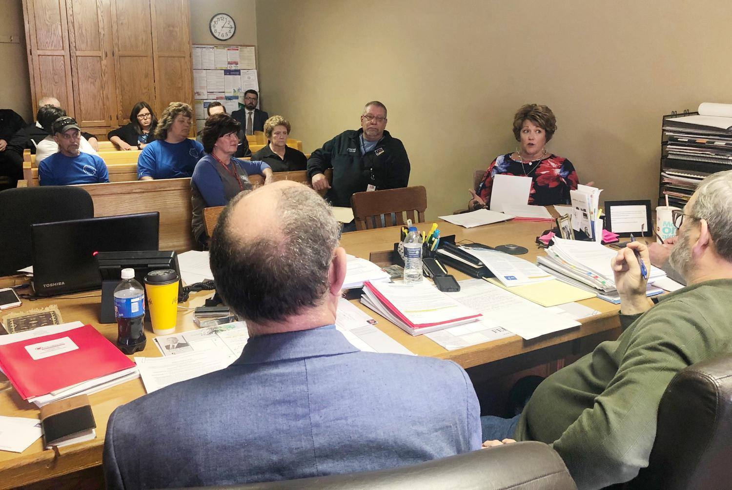The Monroe County Commissioners listen to concerns from county office holders and department representatives during their regular meeting Monday, March 16. The commissioners declared a Public Health Emergency and voted to close the Monroe County Courthouse to the public during the emergency.