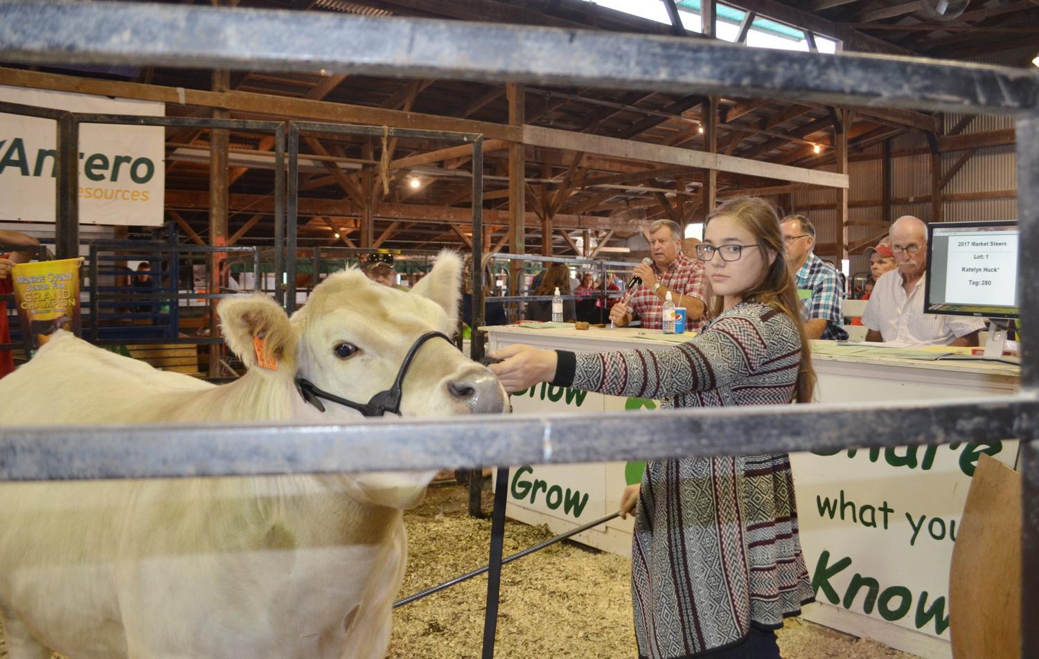 Katelyn Huck shows her steer during a previous Junior Fair Livestock Sale. After this year's Monroe County Junior Fair was canceled, a new group, Monroe County For Kids was created to organize a animal sale for local youths.